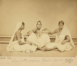 Studio portrait of three Camatti women of the mason caste.